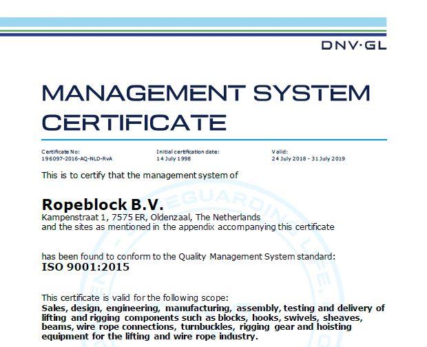 Ropeblock ISO 9001 Certification Renewal | RopeBlock