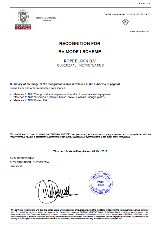 Certificates & documents | RopeBlock