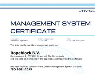 Ropeblock ISO 9001 Certification Renewal